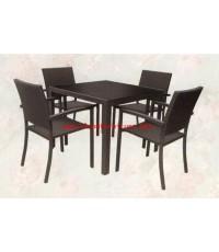 ชุดโต๊ะสนามและเก้าอี้ โครงอลูมิเนียมดำ เก้าอี้หวาย