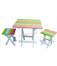 ชุดโต๊ะและเก้าอี้สนามไม้ยางพารา รุ่น Candy (ขายดีสำหรับร้านขายขนม ร้านกาแฟ)