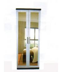 ตู้เสื้อผ้าสีขาว หน้าบานประตูเป็นกระจกเงา โครงสีโอ๊ค ขนาด 80*55*200 ซม.