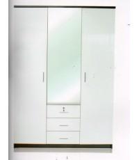 ตู้เสื้อผ้า 3 บานประตู หน้าบาน Hi-Gloss สีขาว