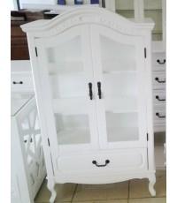 ตู้โชว์สีขาว สไตล์วินเทจ ผลิตจากไม้ยางพารา สวยมากๆค่ะ