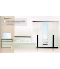 Flower  ชุดห้องนอนสีขาว (Hi-gloss)