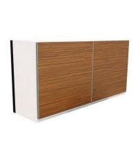 ชุดตู้ลอยยึดติดผนัง โครงขาว หน้าบานลายไม้ Zebrano 1.20 เมตร
