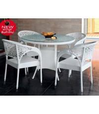 โต๊ะอาหารหวายทรงกลมสีขาว รุ่น DIOR สำหรับ 4 ที่นั่ง (พร้อมกระจกใสปูหน้าโต๊ะหนา 8 มม.)