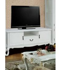 ตู้วางทีวีสีขาว สไตล์วินเทจ ผลิตจากไม้ยางพารา ขนาด 160*50*70 ซม.