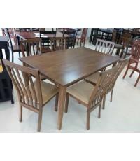 ชุดโต๊ะอาหารไม้ยางพารา 6 ที่นั่ง หน้าโต๊ะขนาด 150*90*75 ซม.