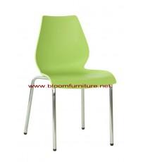 เก้าอี้อาหารโครงเหล็ก ที่นั่งพลาสติกโพลี มีหลายสี - ขายดีที่สุด