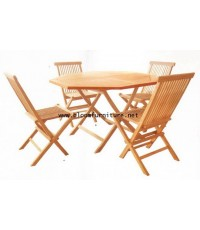 ชุดโต๊ะสนามแปดเหลี่ยมและเก้าอี้สนามไม้สักพับเก็บได้ สำหรับ 4 ที่นั่ง (โต๊ะ 120*75 ซม)