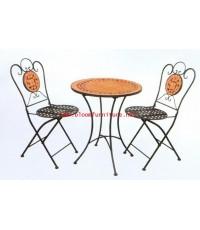 โต๊ะกาแฟ รุ่น Mosaic 6 โครงเหล็ก หน้าโต๊ะปูโมเสค และ เก้าอี้ยังพับเก็บได้ด้วยค่ะ