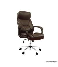 เก้าอี้ผู้บริหาร CAPPO หุ้มหนัง Bi-Cast สีน้ำตาลไหม้ มีโช๊คปรับสูง-ต่ำ โครงขาเหล็ก