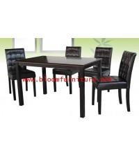 Tata ชุดโต๊ะอาหารหินโครงไม้ พร้อมเก้าอี้เบาะหุ้มหนัง 4 ที่นั่ง