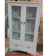 ชั้นโชว์สีขาว รุ่น Vintage 2 ประตู สีขาวผิวเมลามีน ขนาด 80x43x138 ซม.