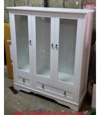 ชั้นโชว์สีขาว รุ่น Vintage 3 ประตู สีขาวผิวเมลามีน ขนาด 120x43x138 ซม.