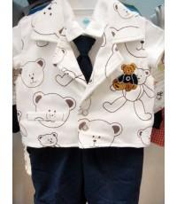 ชุดเสื้อกั๊กลายหมีเท็ดดี้ (90087)