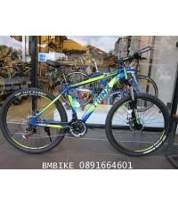 TRINX M136 จักรยานเสือภูเขา สีน้ำเงินคาดเขียว