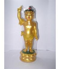 พระพุทธเจ้าปางประสูติบูชาเพื่อความสำเร็จชนะอุปสรรคเนื้อเรซิ่น พ่นทอง สูง7นิ้ว ฐาน 2นิ้ว