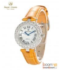 นาฬิกาแฟชั่นผู้หญิงประดับเพชร ยี่ห้อ Royal Crown รุ่น 6305-LE สีเหลืองทอง