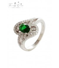 แหวนเงินแท้ ชุบทองคำขาว Trendy Gems รุ่น R2033 สีเงิน/เขียวหยกมณี