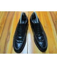 รองเท้า CADOSI  crocodile skin shoe หนังจระเข้สีดำ ปลายเท้าถึงส้นเท้า10.5นิ้ว