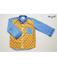 เสื้อเชิ้ต แขนยาว ยีนส์ Polka Dot สีเหลือง ✿ เสื้อผ้าเด็ก สไตล์วินเทจ