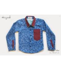 เสื้อเชิ้ตแขนยาว ปกสองชั้น สีน้ำเงินยีนส์ ✿ เสื้อผ้าเด็ก สไตล์วินเทจ