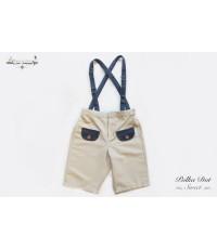 กางเกง เอี๊ยม ขาสั้น Polka Dot Sweet สีขาวครีม ✿ เสื้อผ้าเด็ก สไตล์วินเทจ