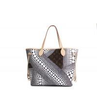 Louis Vuitton Yayoi Kusama Monogram Neverfull MM สีขาว หนังแท้