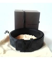 LV initiales damier Graphite canvas belt สก็อตเทาดำหัวสีดำ หนังแท้