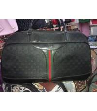 Gucci suitcase luggage rolling travel bag 22 นิ้ว ผ้าสีดำ น้ำตาล