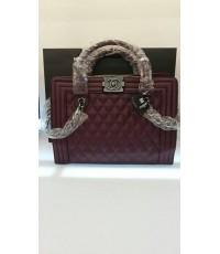 Chanel boy bag leather bags หนัง 10 นิ้ว แดง