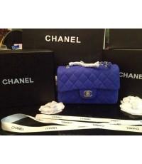 Chanel Soft Caviar  Bag สีดำโซ่เงิน 8 นิ้ว หนังเม็ดสีฟ้า