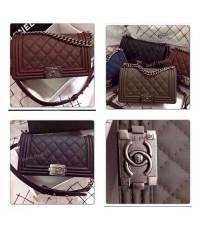 Chanel boy bag black leather bags Hi End หนังแท้ 10 นิ้ว