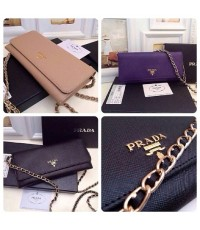 กระเป๋า Prada Saffiano Chain Crossbody Wallet