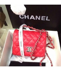 Chanel Bag โซ่เงิน 7 นิ้ว หนังสีแดง