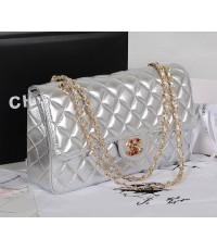 Chanel A1112 Silver Original Lamskin Flap Bag Diamond Golden Chain - Original Black 10 นิ้ว