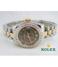 นาฬิกา Rolex Lady Datejust Royal Brown 26 mm. Mirror Image สาย President สี Pinkgold สลับสีเงิน