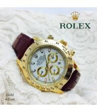 นาฬิกา Rolex สายหนัง มีช่องแสดงวันที่