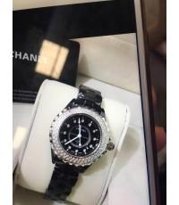 นาฬิกา Chanel J12 Ladies Watch ดำกรอบเงิน