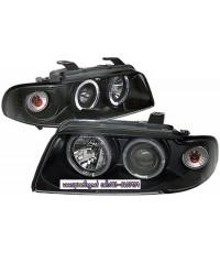 ไฟหน้าโปรเจคเตอร์ AUDI A4 95-00 ดำ มุมติด วงแหวน