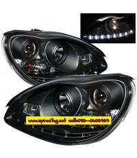ไฟหน้าโปรเจคเตอร์ BENZ S-CLASS W220 98-05 ดำ LED ยาว