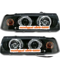 ไฟหน้าโปรเจคเตอร์ BMW 3 SERIES E36 91-00 4D ดำ มุมติด LED ยาว