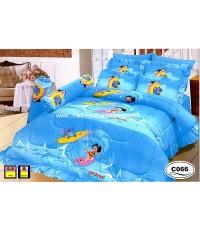 ชุดผ้าปูที่นอน ลายลีโล่ และสติช(สีฟ้า) เตียงเดี่ยว 3.5 ฟุต