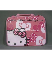 กระเป๋าโน๊ตบุ๊คคิตตี้ แบบหูหิ้ว พร้อมสายสะพายข้าง Kitty notebook case สีชมพู ขนาด 12 นิ้ว