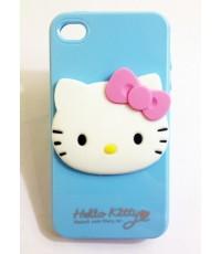 เคส Iphone 4/4S ซิลิโคนยาง ลายการ์ตูน Hello Kitty สีฟ้า