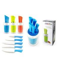 Color Kit ชุดมีด 5 ชิ้น พร้อมบล็อคพลาสติก ขนาด 3.5, 5, 8, 8, 8 นิ้ว สี ส้ม ฟ้า เขียว