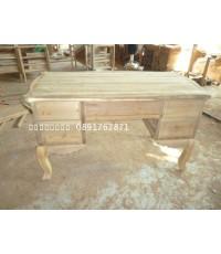โต๊ะทำงานไม้สักขานก5ลิ้นชัก