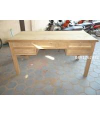 โต๊ะทำงานไม้สักขาเซาะร่อง