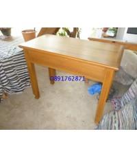 โต๊ะทำงานไม้สักขาเซาะร่อง 1 ลิ้นชัก