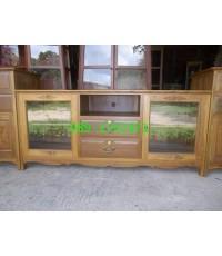 ตู้วางทีวีไม้สักขาตรง 2 ลิ้นชัก บานเปิดระจก
