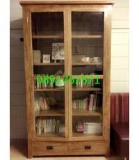 ตู้วางหนังสือไม้สัก/ชั้นหนังสือไม้สัก2บานปิด 3